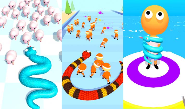 『Snake Master 3D』色の付いた水を入れ替えていき同じ色に統一するシンプルパズル..