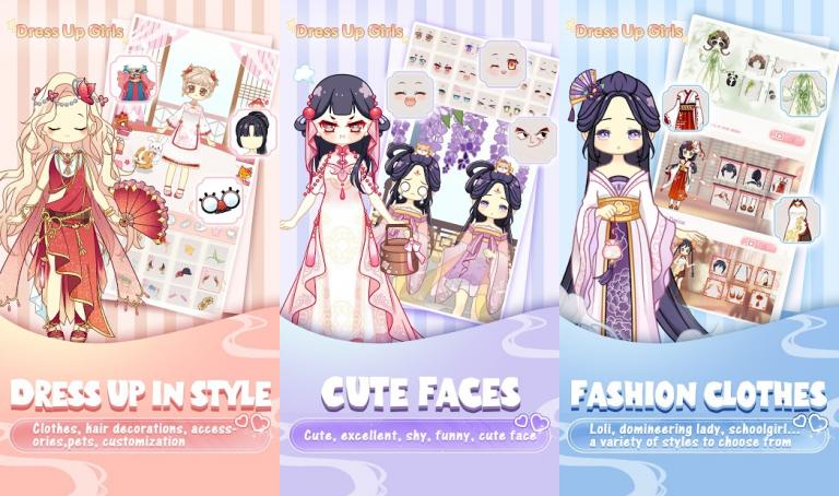 『Dress Up Girls-fun games』色の付いた水を入れ替えていき同じ色に統一するシンプルパズル..