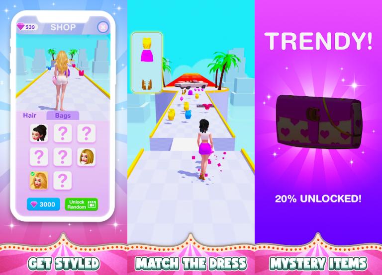 DressUp Run!、色の付いた水を入れ替えていき同じ色に統一するシンプルパズル..
