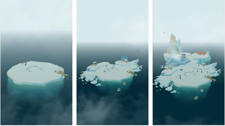 ペンギンの島、色の付いた水を入れ替えていき同じ色に統一するシンプルパズル..