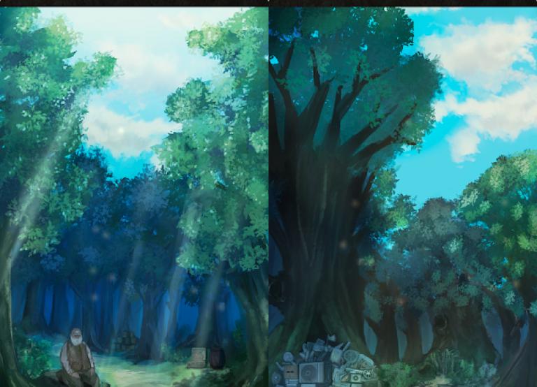 脱出ゲーム~謎の森から脱出~、色の付いた水を入れ替えていき同じ色に統一するシンプルパズル..