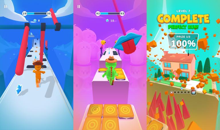 Pixel Rush - Epic Obstacle Course Game、色の付いた水を入れ替えていき同じ色に統一するシンプルパズル..