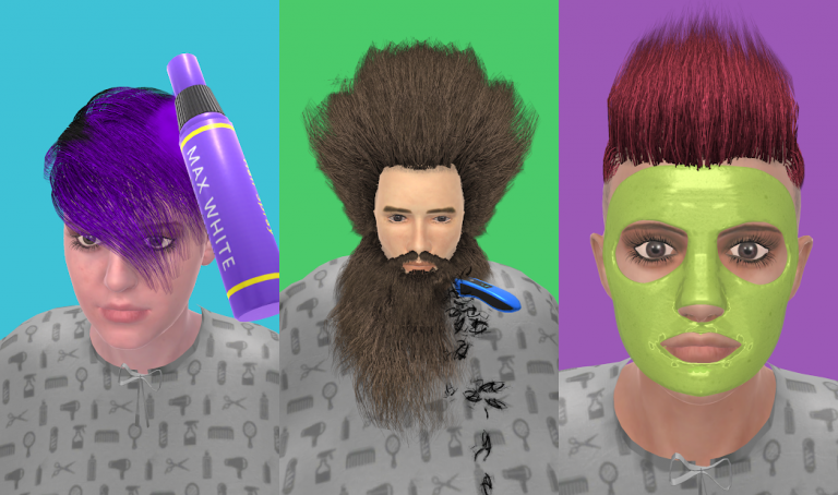 Real Haircut Salon 3D、色の付いた水を入れ替えていき同じ色に統一するシンプルパズル..